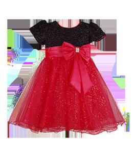. Контрастное детское платье с мерцающим лифом