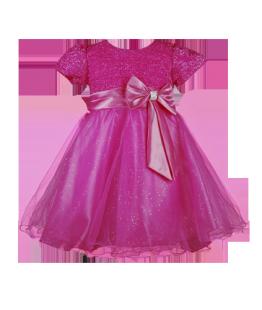 . Нарядное малиновое платье для девочки с блестящим лифом