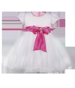 . Нарядное белое платье для девочки с розовым бантом