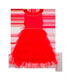 . Красное выпускное платье для девочки с рюшами