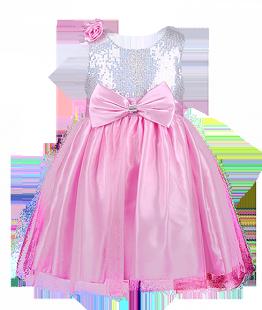. Детское платье для выпускного с розой на плече и пайетками