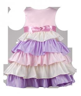 . Платье пышное с разноцветными рюшами