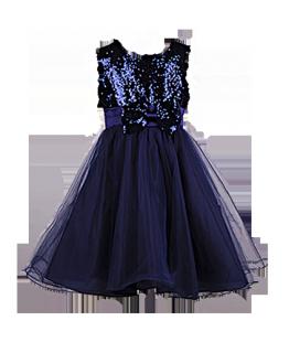 . Нарядное платье для девочки темно-синего цвета