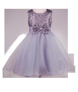 . Детское платье с пайетками на лифе универсального серого цвета