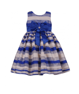 . Детское платье в синюю полоску на праздник