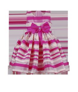. Нарядное детское платье в розовую полоску с бантом