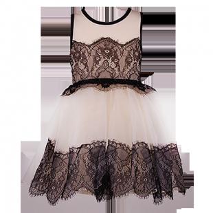 . Детское платье кремового цвета с темным кружевом