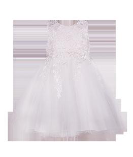 . Белоснежное нарядное платье для девочки с отделкой кружевом