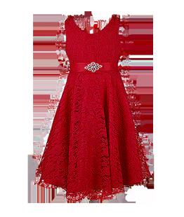 . Красное детское платье из кружева на торжество