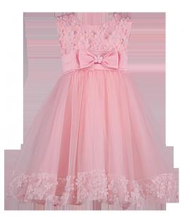 . Нежное платье для девочки персикового цвета с цветами на лифе и подоле