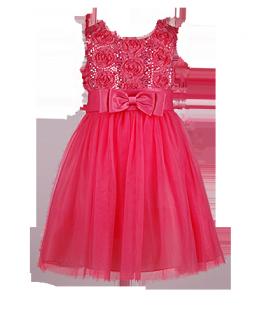. Нарядное коралловое платье для девочки с блестящим декором