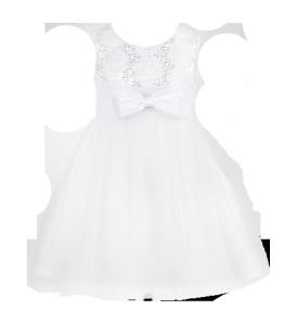 . Праздничное белое платье для девочки с пайетками на лифе